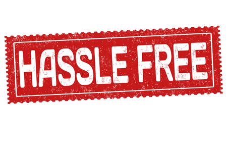 hassle: Hassle free sign or stamp on white background, vector illustration Illustration