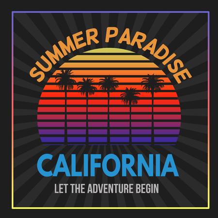 beach sunset: California typography print design, vector illustration Illustration