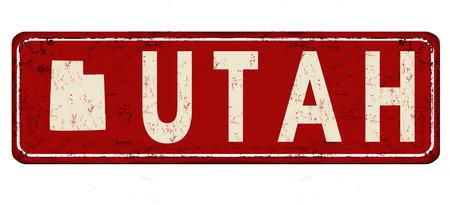 ユタ州ヴィンテージさびた金属サイン白背景、ベクトル図  イラスト・ベクター素材