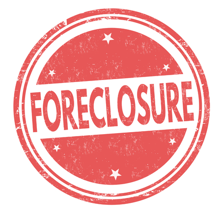Foreclosure sign or stamp on white background, vector illustration