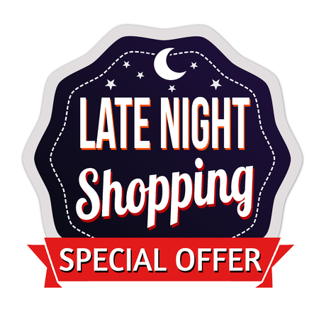 Late Night Shopping label or sticker on white background, vector illustration