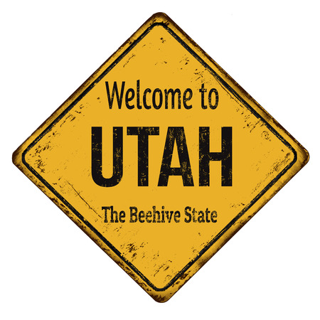 Welcome to Utah vintage rusty metal sign on a white background, vector illustration