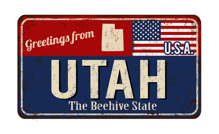 Greetings from Utah vintage rusty metal sign on a white background, vector illustration 向量圖像