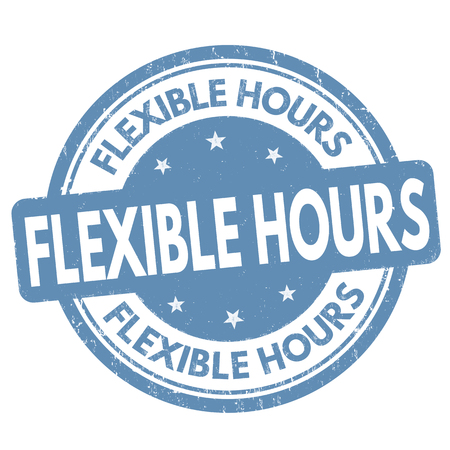 Flexible hours sign or stamp on white background, vector illustration Ilustração