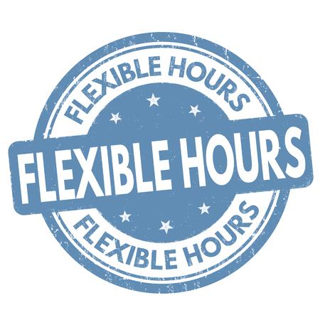 Horaire flexible signe ou timbre sur fond blanc, illustration vectorielle