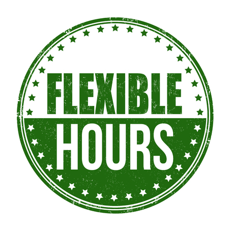 flexible business: Flexible hours sign or stamp on white background, vector illustration Illustration