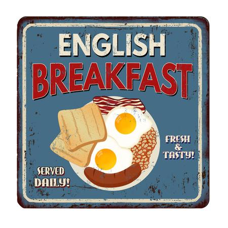 Engels ontbijt vintage roestig metaalteken op een witte achtergrond, vectorillustratie