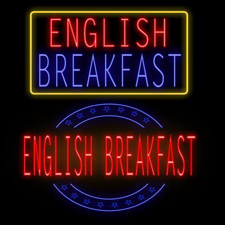 English breakfast glowing neon sign on black, vector illustration