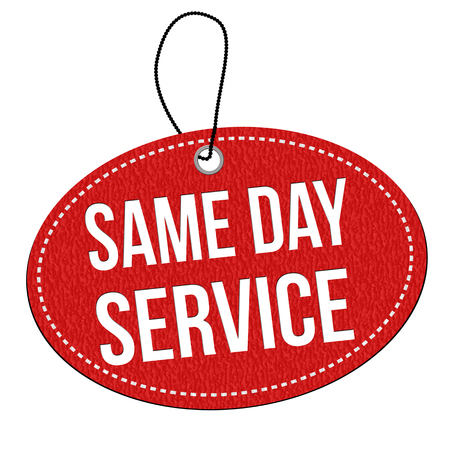 Same day service red leather label or price tag on white background, vector illustration