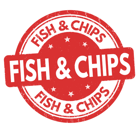 Fish and chips sign or stamp on white background, vector illustration