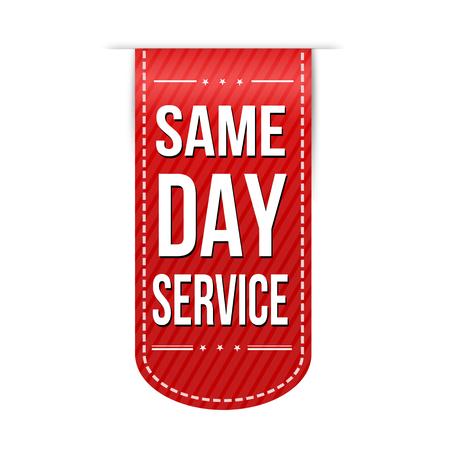 Diseño de banner de servicio de día mismo sobre un fondo blanco, ilustración vectorial