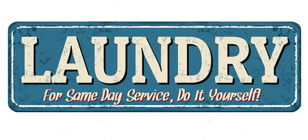old fashioned: Laundry funny vintage rusty metal sign on a white background, vector illustration
