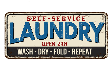Laundry funny vintage rusty metal sign on a white background, vector illustration