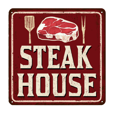 old fashioned: Steak house vintage rusty metal sign on a white background, vector illustration