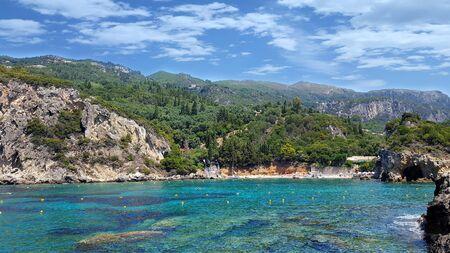 paleokastritsa: Amazing beautiful bay with blue clear water in Paleokastritsa on Corfu island, Greece