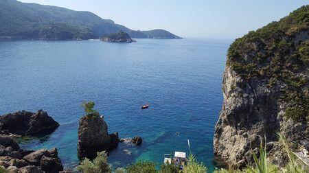 paleokastritsa: Amazing beautiful bay in Paleokastritsa, Corfu island, Greece