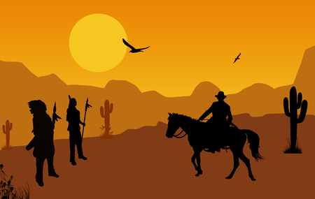 Cowboy and native american indians on wild west at orange sunset, background illustration Ilustração