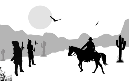 Cowboy and native american indians on wild west, background illustration on black and white