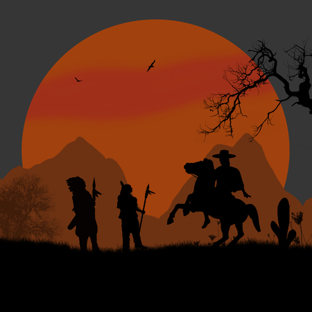 Cowboy and native american indians on wild west at sunset, background illustration