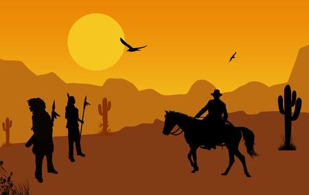 Cowboy and native american indians on wild west at orange sunset, background illustration Stock Photo