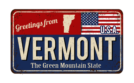 Greetings from Vermont vintage rusty metal sign on a white background, vector illustration Illustration