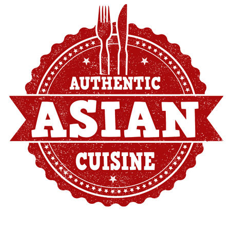 Asian cuisine sign or stamp white background, vector illustration