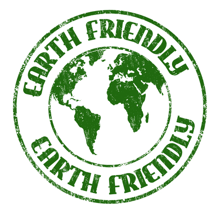 Earth friendly sign or stamp on white background, vector illustration