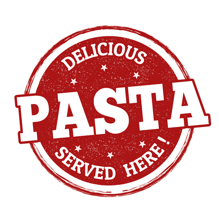 Delicious pasta grunge rubber stamp on white background, vector illustration
