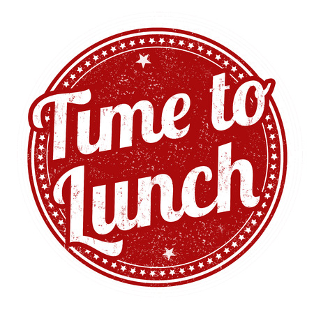 Time to lunch sign or stamp on white background, vector illustration