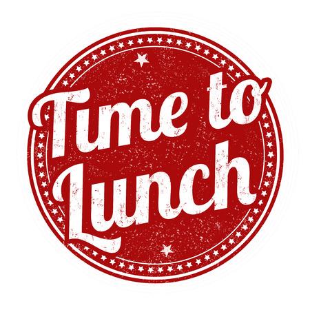 Tijd aan lunchteken of zegel op witte achtergrond, vectorillustratie Stock Illustratie