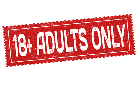 Adults only grunge rubber stamp on white background, vector illustration