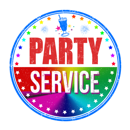 Party service grunge rubber stamp on white background, vector illustration