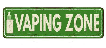 vaping zone vintage signe métal rouillé sur un fond blanc . vector illustration