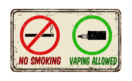 No Smoking and Vaping Allowed vintage rusty metal sign on a white background, vector illustration