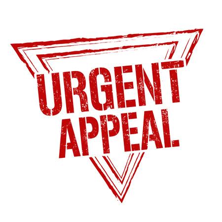 Urgent appeal grunge rubber stamp on white background, vector illustration Vetores