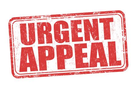 Urgent appeal grunge rubber stamp on white background, vector illustration