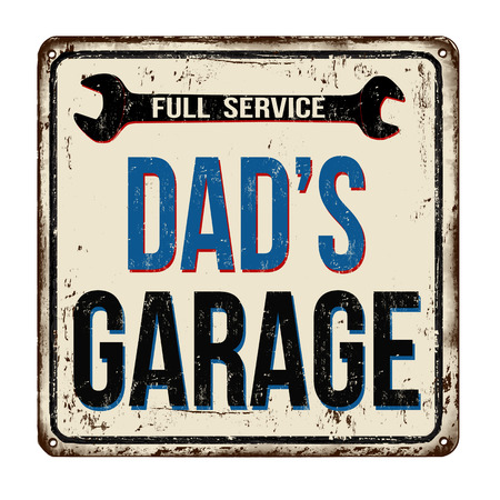 Dads garage, full service vintage rusty metal sign on a white background, vector illustration Çizim