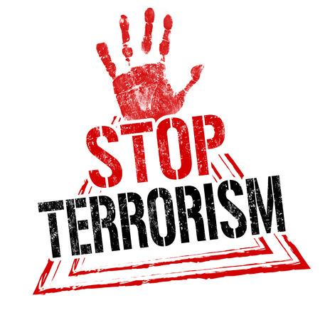 Stop terrorism grunge rubber stamp on white background, vector illustration
