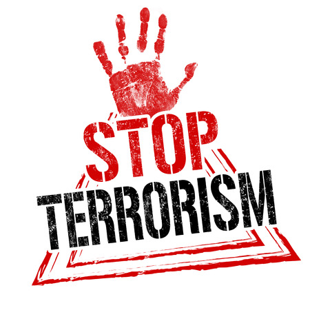 Stop terrorism grunge rubber stamp on white background, vector illustration