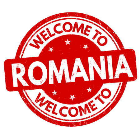 Welcome to Romania grunge rubber stamp on white background, vector illustration