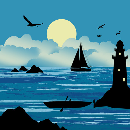 Beautiful seascape with boats and lighthouse on a cloudy day, vector illustration