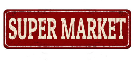 Super market vintage rusty metal sign on a white background, vector illustration. Çizim