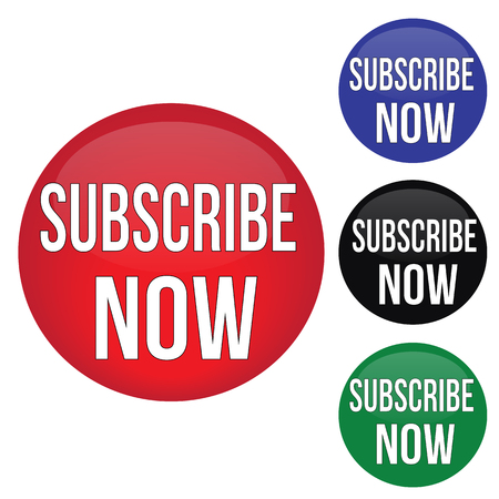 Subscribe now round website glossy buttons set on white background, vector illustration Illustration
