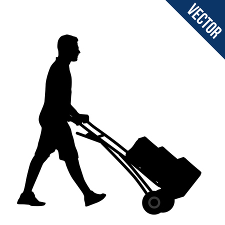Delivery man silhouette carrying boxes with a trolley on white background, vector illustration