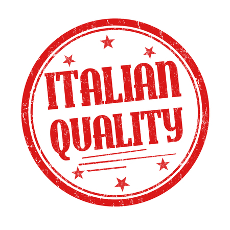 Italian quality grunge rubber stamp on white background, vector illustration