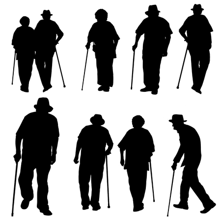 Silhouette of old people on a white background, vector illustration.