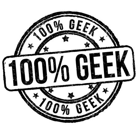 100% Geek grunge rubber stamp on white background, vector illustration.