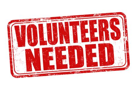 Les bénévoles avaient besoin de signe ou un timbre sur fond blanc, illustration vectorielle