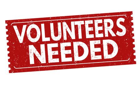 I volontari hanno avuto bisogno del segno o del bollo su priorità bassa bianca, illustrazione di vettore Vettoriali