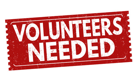 Volunteers needed sign or stamp on white background, vector illustration